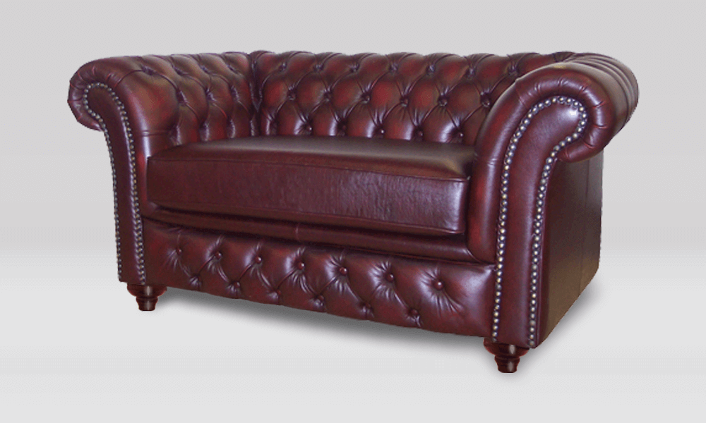 Chesterfield 2 Seater - Antique Rust Leather - 1 Seat Cushion