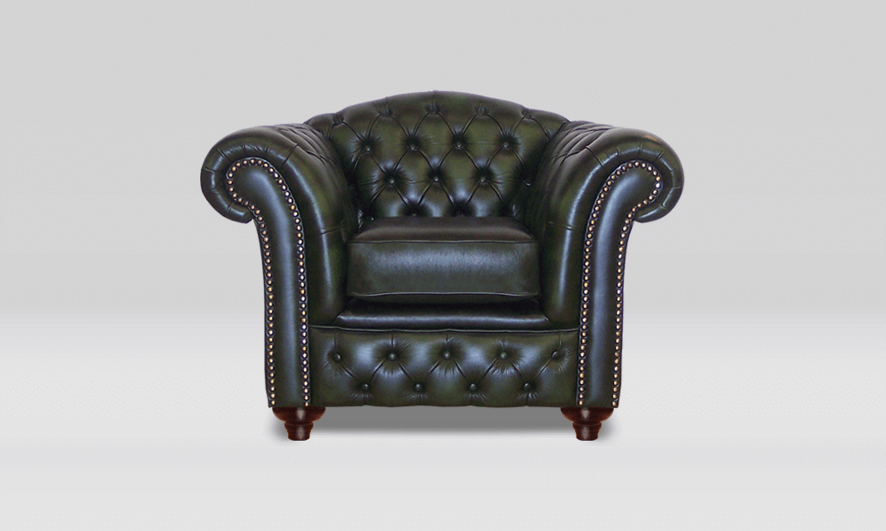 Chesterfield Club Chair - High Back - Antique Green Leather