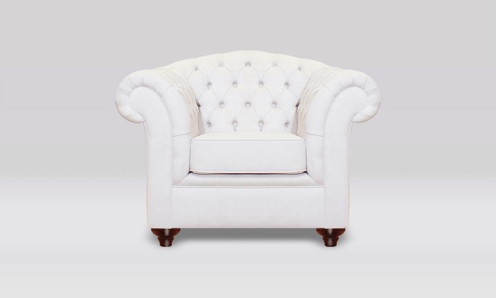 Chesterfield Club Chair - High Back - White