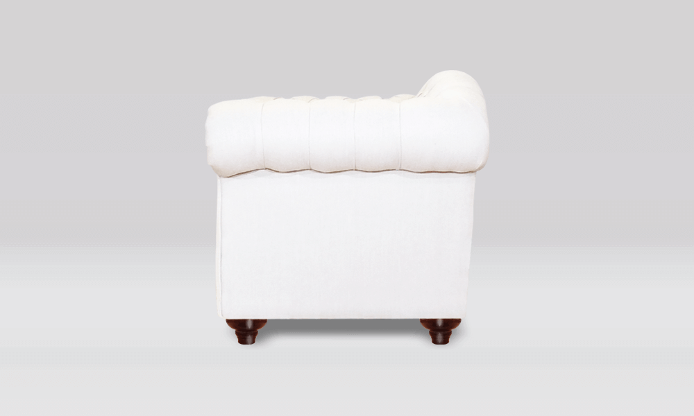 Chesterfield 2 Seater - Pimlico Chalk Fabric - Side View
