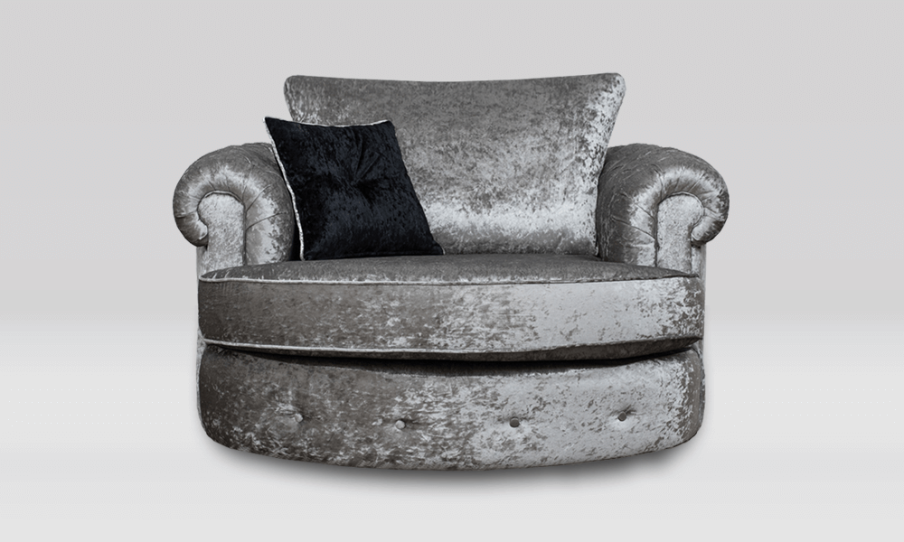 Chester Swivel Cuddle Chair - Shimmer Silver