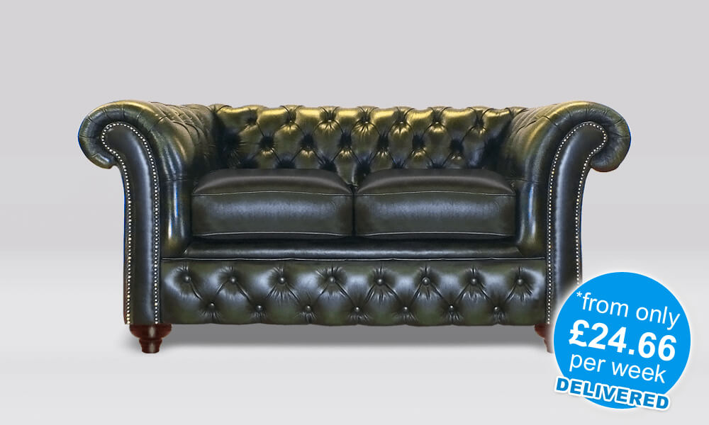 Chesterfield 2 Seater - Antique Green Leather - 2 Seat Cushion