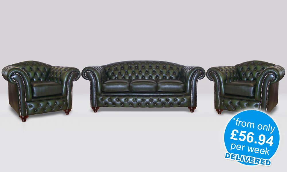 Chesterfield 3 Piece Suite - Antique Leather