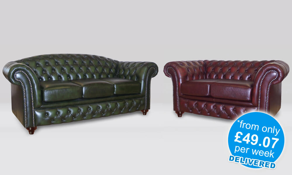 Chesterfield 2 Piece Suite - 3 and 2 Seater Sofa's - Antique Leather