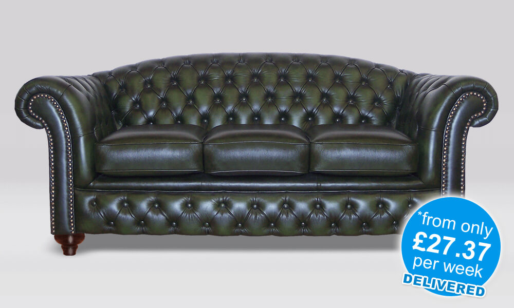 Chesterfield 3 Seater - Antique Green - 3 Seat Cushions