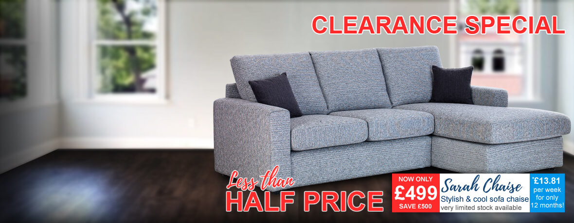 Sarah Sofa Chaise in grey fabric - Clearance Special - limited stock
