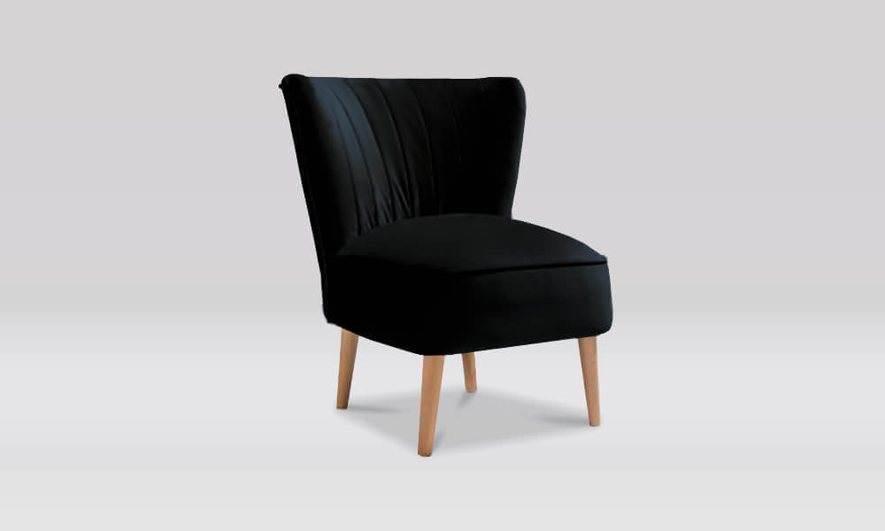 Zara Retro Accent Chair in Ebony Velvet