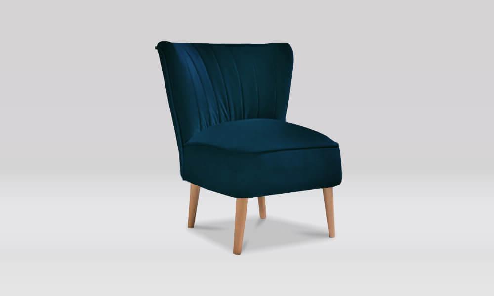 Zara Retro Accent Chair in Marine Velvet