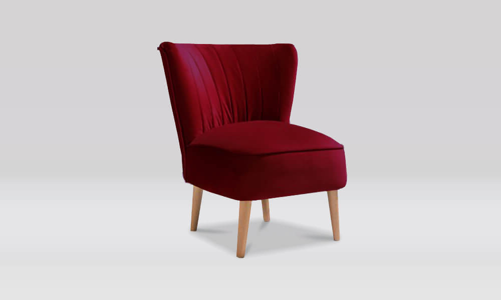 Zara Retro Accent Chair in Merlot Velvet