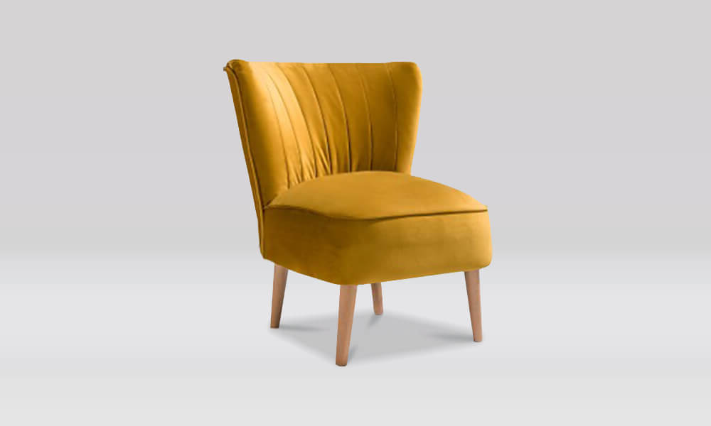 Zara Retro Accent Chair in Mustard Velvet