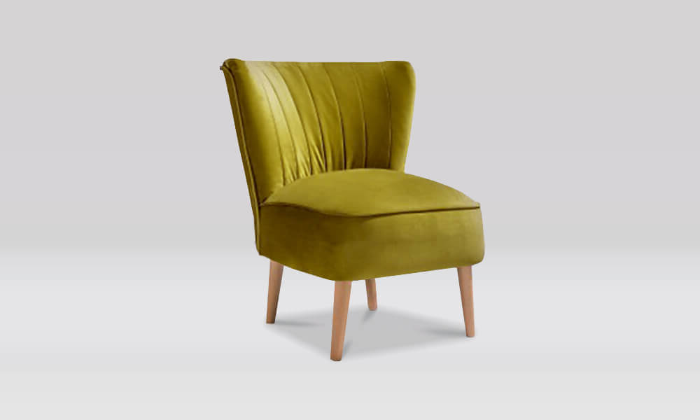 Zara Retro Accent Chair in Olive Velvet