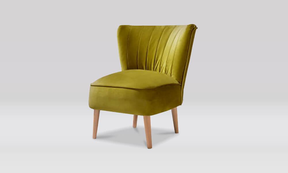 Zara Retro Accent Chair in Olive Velvet