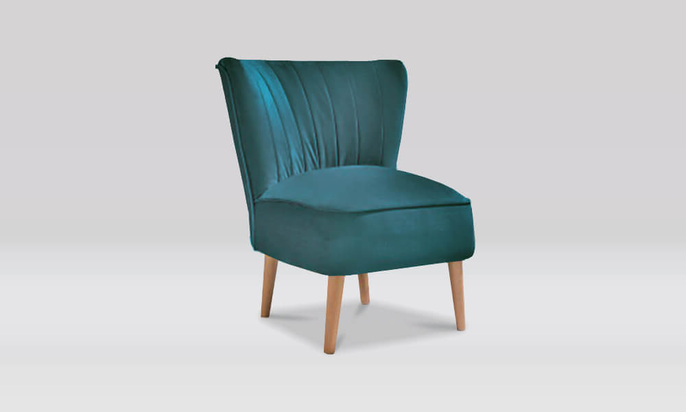 Zara Retro Accent Chair in Teal Velvet