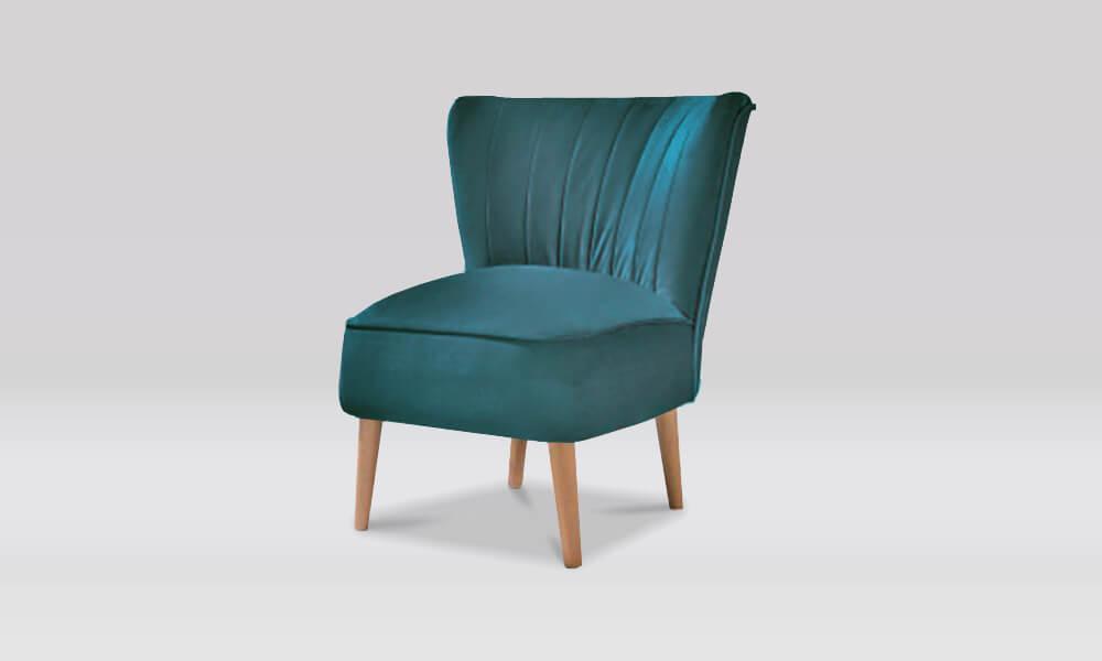 Zara Retro Accent Chair in Teal Velvet